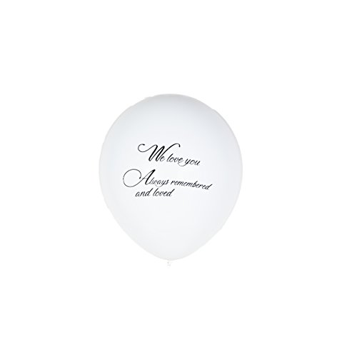 Qurly 15 Pieces White Remembrance Condolence Memorial Death Anniversary Celebration of Life Funeral Biodegradable 12 Inches Release Balloon We Love You Always Remembered and Loved (Toy)