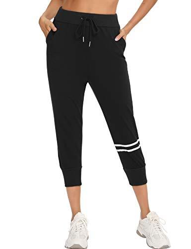 Aibrou Pantalones Piratas 3/4 Pantalones Chándal Mujer Pantalones Deportivos de Mujer Pantalones Adelgazantes Pantalones Fitness Mujer para Primavera Verano Deporte Correr Yoga Paseo Negro L