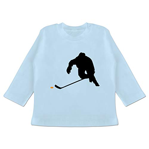 Sport Baby - Eishockey Sprint - 3/6 Monate - Babyblau - Baby Eishockey Langarm - BZ11 - Baby T-Shirt Langarm
