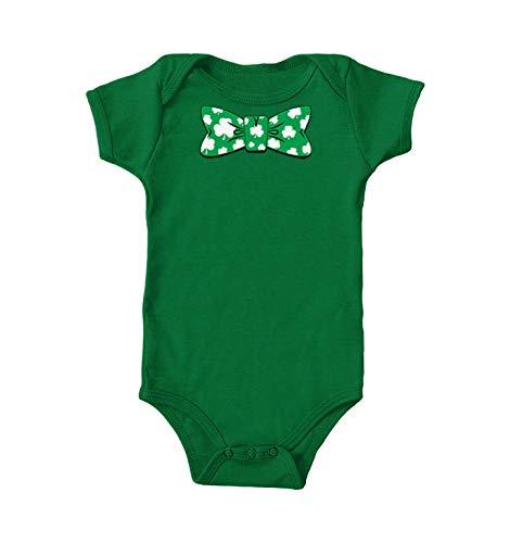 Shamrock Bow Tie - Fancy Irish Clover Bodysuit (Kelly, 12 Months)