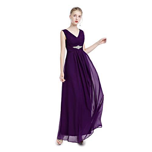 Damen Ärmellos Chiffon Lang Partykleid Frauen V-Ausschnitt A-Linie Hohe Taille Abend Cocktail Kleid...