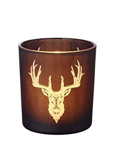 EDZARD Windlicht Teelichtglas Kerzenglas Alex, schwarz, Hirsch, Höhe 8 cm
