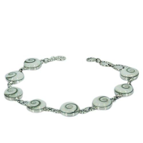 Chic-Net Shivaauge Armband Shiva Auge Silberrücken 10 mm rund 925er Sterling Silber Schmuck Silberarmband