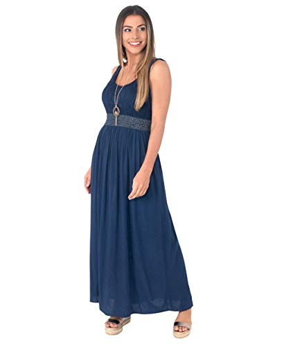 7091-NVY-SM: KRISP Damen Bodenlanges Kleid mit Lochmuster,Small-Medium (36-38)