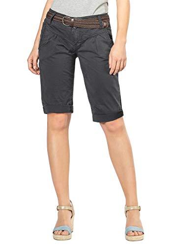 Fresh Made Damen Bermuda-Shorts im Chino Style mit Gürtel Dark-Grey M