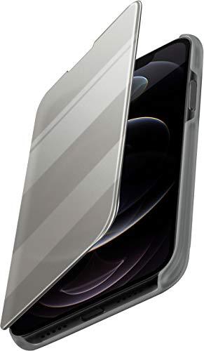 moex Dünne 360° Handyhülle passend für iPhone 12/12 Pro | Transparent bei eingeschaltetem Bildschirm - in Hochglanz Klavierlack Optik, Silber