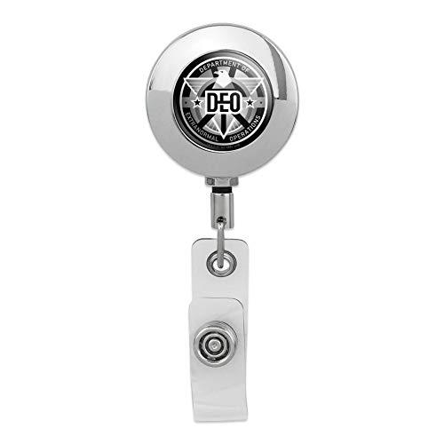 Supergirl TV-Serie DEO Abteilung of Extranormal Operations Emblem einziehbare Spule Premium Metall Chrom Ausweishalter Clip