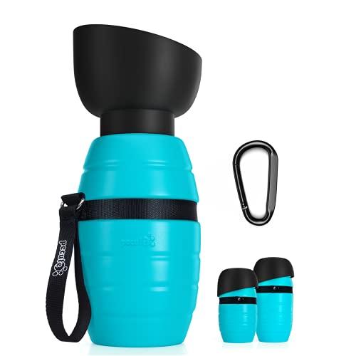 Pecute Hund Wasserflasche, Trinkflasche Hund Silikon Hundetrinkflasche für Unterwegs mit Faltbarer Wasserschale Haustier Trinknapf Tragbare Blau 500 ml