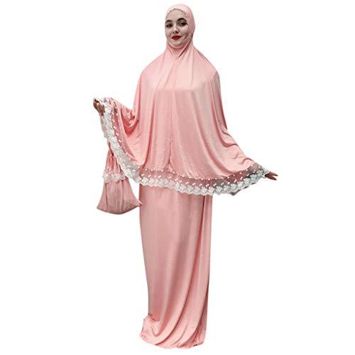BakeLIN Muslim Umhang Kleid Abaya Dubai Maxikleid mit Spitze Islamische Gebetskleidung Kopfbedeckung
