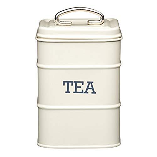 Aufbewahrungsdose für Tee, Edelstahl, aus der Living-Nostalgia-Produktreihe, cremefarben, 30 x 18 x 18 cm