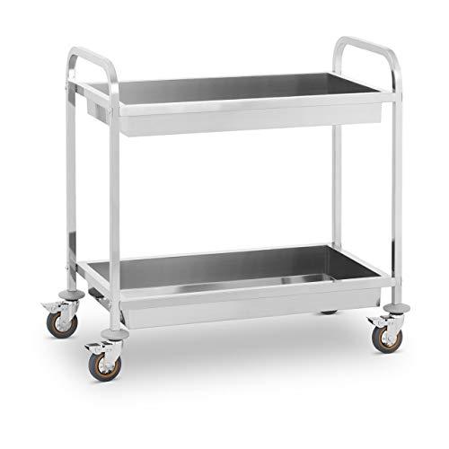 Royal Catering - Servierwagen Küchenwagen (2 Abräummulden, 320 kg belastbar, 101 x 55 x 96,50 cm, 62 cm Abstand, Leichtlaufräder, Feststellbremse, Edelstahl) Silber