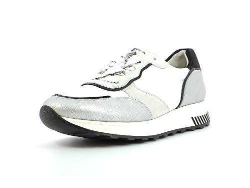 Paul Green Damen Sneaker 4908, Frauen Low-Top Sneaker, Lady Ladies feminin elegant Women's Women Woman Freizeit leger,Silver/White,37.5 EU / 4.5 UK