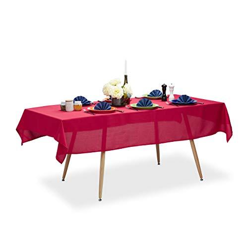 Relaxdays Tischdecke wasserabweisend, pflegeleicht, Polyester-Tischtuch, bügelfest, Gartentischdecke eckig 140x220, rot