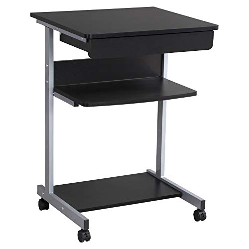 Yaheetech Mesa de Ordenador Mesa Escritorio PC con Cajón con 4Ruedas para Hogar o Oficina 56x51x79cm Negro