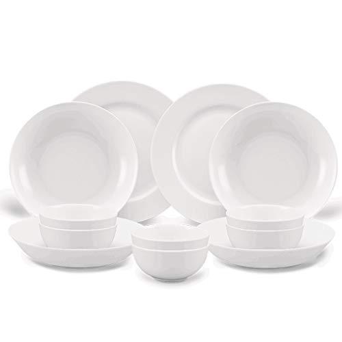 ZLDGYG Juego de vajillas 40pieces Placas de Cena de Porcelana Blanca Pura Hueso China China Tazones de vajilla Cuencos Placas de Sopa Gravedad Barco Oval Placa Servicio para 6