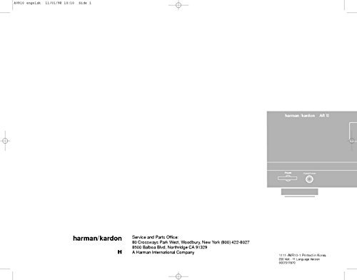 Harman Kardon AVR-10 AV Receiver Owners Instruction Manual Reprint [Plastic Comb] [Jan 01, 1900]
