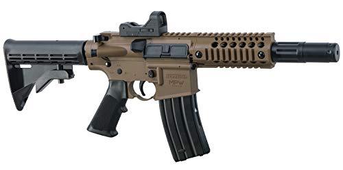 Bushmaster BMPWX Full Auto MPW CO2 Powered BB Air Gewehr mit Dual Action Funktion und Red Dot Sight, Schwarz/FDE