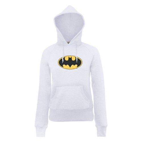 DC Comics Damen Official Batman Logo Womens Hooded Sweatshirt Kapuzenpullover, weiß, S