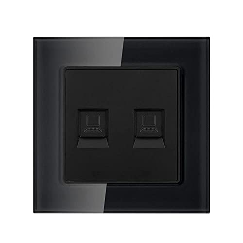 ZóCalo Dual, Panel De Cristal De Cristal Blanco 82mm * 82mm Hogar Cat6 Interfaz De Interfaz De Interfaz De Internet-Negro_110-250v