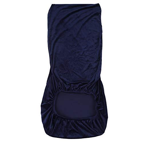 Fltaheroo Stretch Faux Velvet Fabric Esszimmer Hochzeit KüChe Home Short Chair SitzbezüGe, Navy Blue