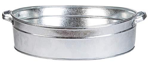 Esschert Design - Vasca ovale in zinco, misura L, colore: Grigio