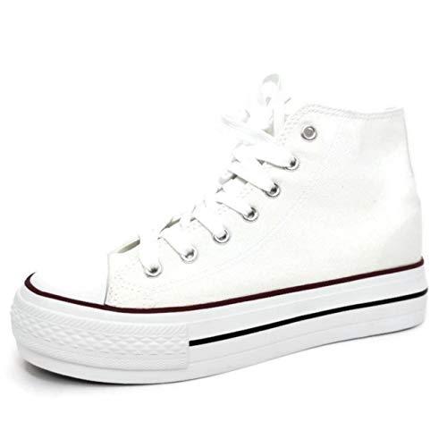 Encarni Zapatería - Zapatillas Cásual para Mujer Lona con Plataforma (Blanco, 39)