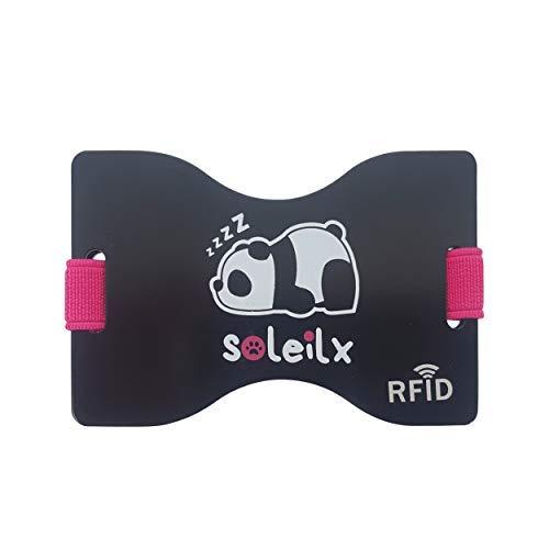 Soleilx Porta Carte Credito uomo donna unisex Blocco Protezione RFID Anti Frode Porta Documenti Tessere Biglietti Uomo Porta Patente carta d'identità Alluminio Nero Fluo Sottile