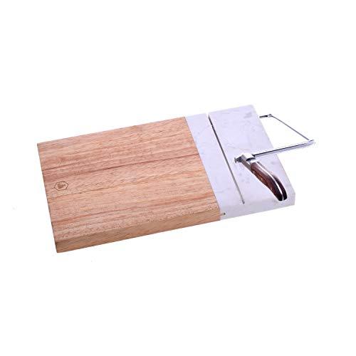 LAGUIOLE - Planche à foie gras - Lyre en acier inoxydable et manche en bois - Bois d'hévéa et marbre - Indispensables pour vos repas de Noël - bois, acier inoxydable, marbre - Gris, Marron
