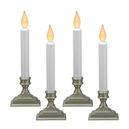 612 Vermont Battery Operated LED Window Candles with Flickering Amber Flame, Automatic Timer, 9.75 Inches Tall (Pack of 4, Pewter)