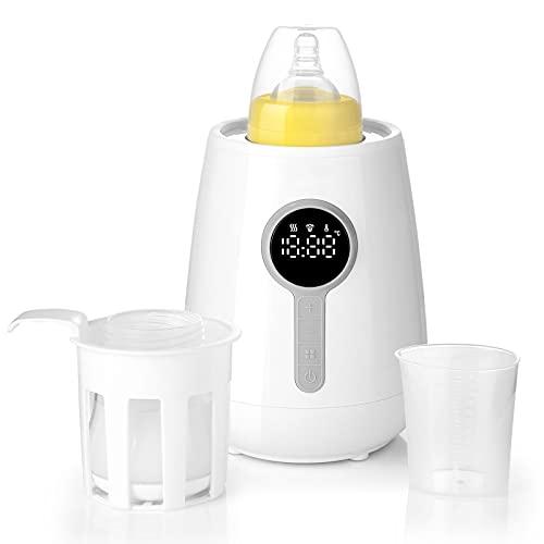 Calienta Biberones Multifuncionales 6 en 1, Calentador de Alimentos con Función de Calentamiento Rápido y Mantener Calor, Esterilizador Biberones de Pantalla Táctil LED y sin BPA