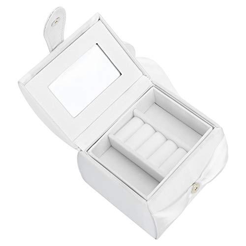 XINL Caja de Almacenamiento, Organizador Pulido Respetuoso del Medio Ambiente Durable de la joyería, PU para los Anillos de los Pendientes(White)