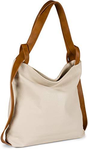 styleBREAKER Damen Rucksackhandtasche aus zweifarbigem Kunstleder, Reißverschluss, Shopper, Schultertasche, Rucksack 02012359, Farbe:Creme-Beige