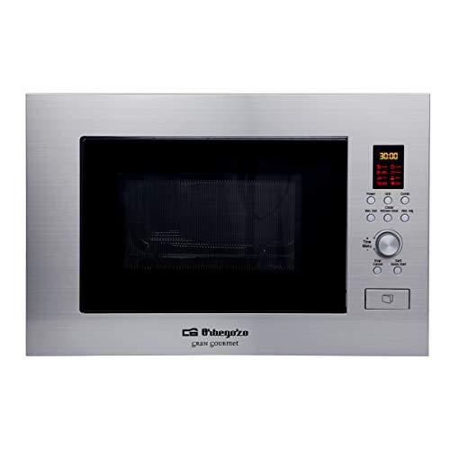 Orbegozo MIG 2330 - Microondas encastrable, 23 litros, cuerpo acero inoxidable, función grill, modo combi, protección infantil, 900 W