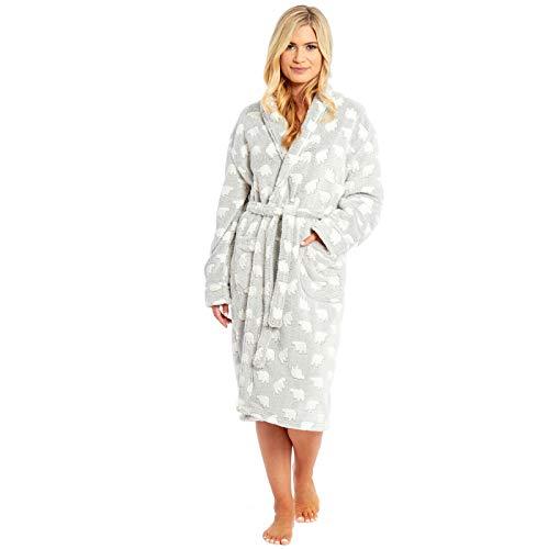 Dames Beer Dressing Jurk Pyjama Set Womens Polar Micro Fleece Nachtkleding PJS Lounge WEAR Badjas Warm Nacht slijtage Lange Mouw TOP Bottoms Broek Sjaal Nek WRAP Badjas Huis Jas