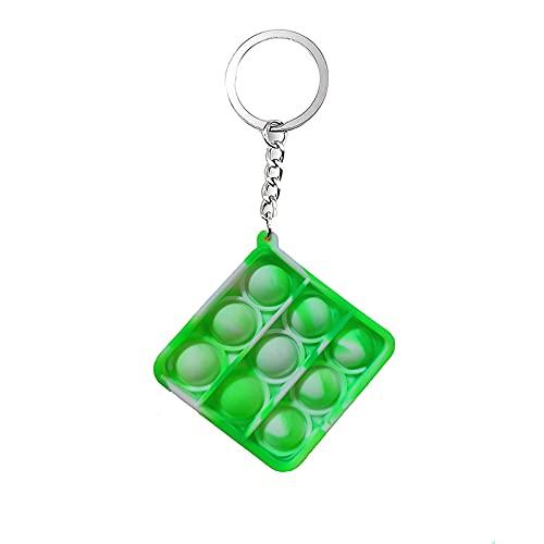 DuoDuoHouse - Juguete con hoyuelos Mini Pop Fidget para aliviar el estrés, juguetes de mano para niños y adultos, llavero de juguete de burbujas para aliviar el estrés de oficina, juguetes de silicona para niños y adultos