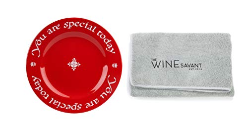 Waechtersbach Plate, You Are Special Today Red Plate Featuring a Wine Savant Cleaning Towel (Bundle 2 pieces)