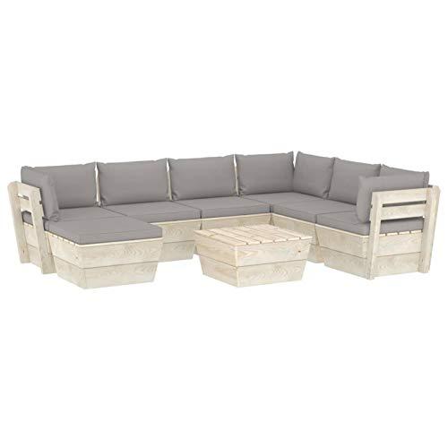 Tidyard Conjunto de sofás Muebles de jardín de palets 8 Piezas y Cojines Madera de Abeto 2#