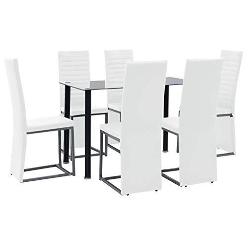 Tidyard 7-teilige Essgruppe Esstisch-Set Küchenmöbel Mit 6 Esszimmerstühle Stühle,Esszimmergruppe Küchentisch Essstuhl Esstischgruppe Esszimmergarnitur für Esszimmer Küche Office,Schwarz und Weiß