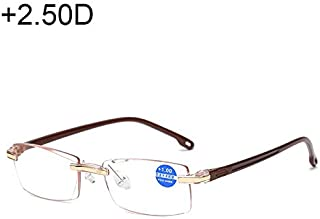 Jtj Rimless Anti Blue-ray Blue Film Lenses Presbyopic Glasses, 2.50D(Black) (Color : Brown)