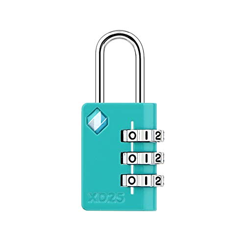 [ZARKER XD25] Padlock- 3 Digit Combination Lock - Small Mini Padlock - Travel Lock, Backpack Lock, Cabinet lockers, Laptop Bag - Easy to Set Your Own Combo - 1 Pack(Emerald)