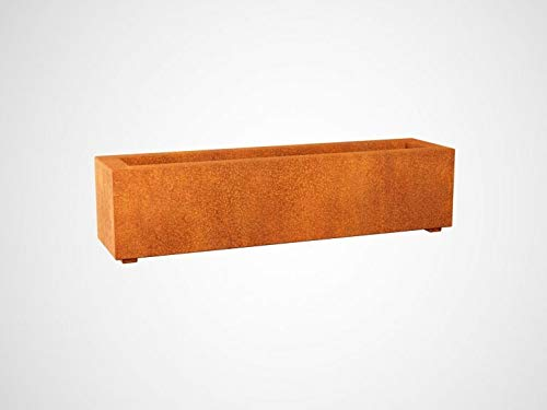Macetero de acero - Corten LARGO 2 un recipiente rectangular de tamaño mediano de acero corten...