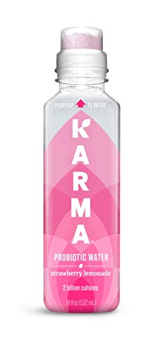 Karma Wellness Flavored Probiotic Water, Strawberry Lemonade, 18 Fl Oz (Pack of 12), Immunity and Digestive Health Support, Low Calorie, 2 Billion Active Cultures