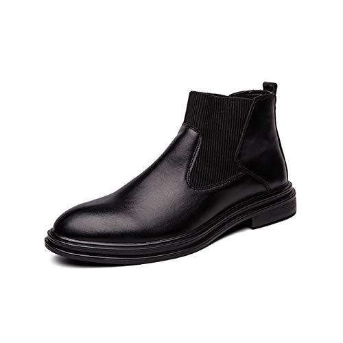 JIADUOBAO - Botas S para hombre con banda elástica, altura del grifo, tacón bajo de bloque y puntera puntiaguda, suela de goma, cuero semisintético, desgaste causal S (color: negro, talla: 39 EU)