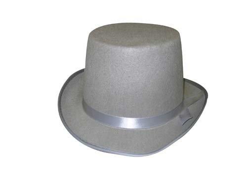 Haut-de-forme gris ruban gris 13 cm Chapeau de deguisement