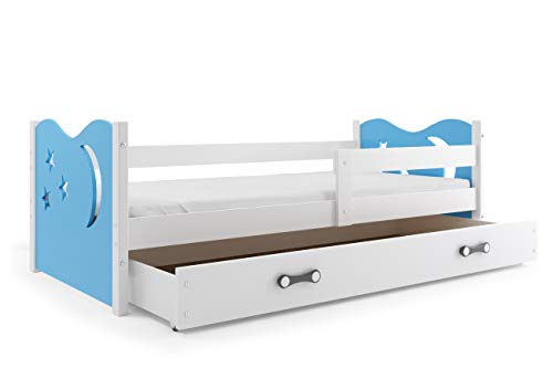 Interbeds Children's single bed NIKO 160 x 80 white + variations, colored tops, drawer, wooden slatted base, without mattress (Blue)