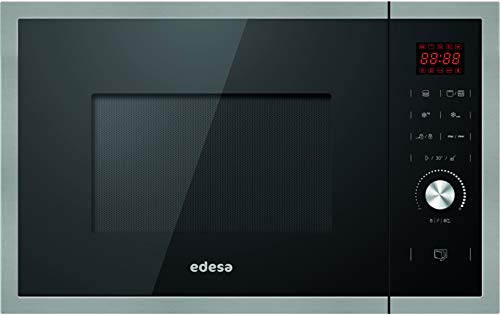 Edesa - Microondas de encastre, Modelo: EMW-2530-IG XBK, Microondas con grill, Capacidad de 25 L, 5 niveles de potencia, Acabado en cristal Negro