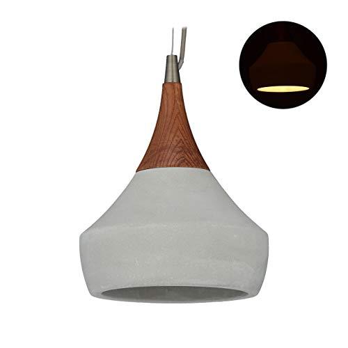 Relaxdays betonlamp, houten elementen, hanglamp in betonlook, vintage, cementlamp, E27, HD 117,5 x 19 cm, grijs/bruin