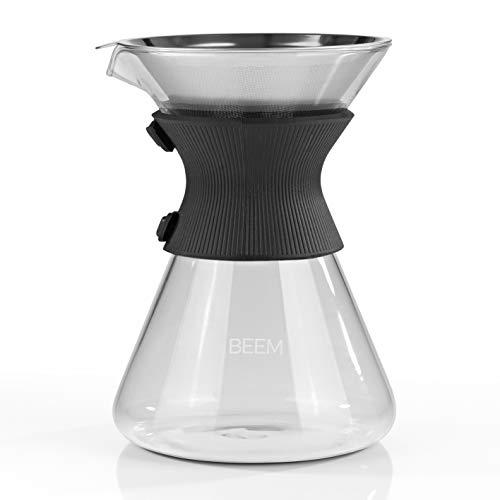 BEEM POUR OVER Kaffeekaraffe mit Permanentfilter - 6 Tassen | CLASSIC SELECTION | 3-teilig | 0,75 l Glaskaraffe inkl. Silikon-Manschette | Permanentfilter | Ausgussrinne für tropffreies Einschenken