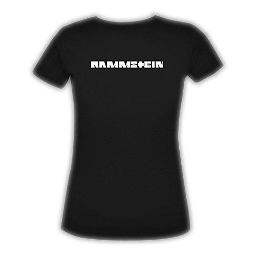 Rammstein Frauen Damen Girlie Shirt Klassik Glow, Offizielles Band Merchandise Fan Shirt schwarz mit weißem Front und Back Print (L)