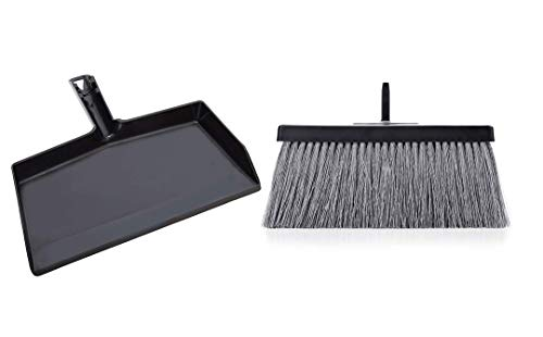 Fuller Brush Deep Reach Black Slender Broom Head with Dustpan Set